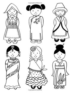 coloriage Divers costumes around the world Around The World Theme, Kids Around The World, Holidays Around The World, Around The Worlds, Costumes Around The World, Colouring Pages, Adult Coloring Pages, Coloring Books, World Thinking Day