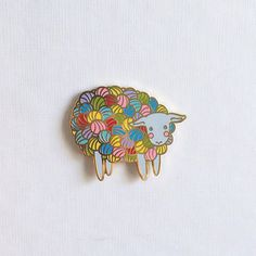 Multicolor Yarn Sheep Hard Enamel Pin