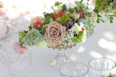 spring wedding flowers outdoor wedding reception centerpiece roses