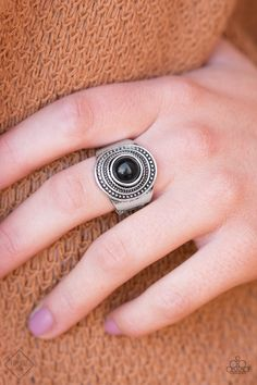 A black bead is pressed into the center of a round silver frame radiating with circular textures for a tribal look. Features a stretchy band for a flexible fit.    Sold as one individual ring. | Shop this product here: http://spreesy.com/fashionablefinds/134 | Shop all of our products at http://spreesy.com/fashionablefinds    | Pinterest selling powered by Spreesy.com