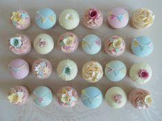Flowers, Bunting & Pearl Cupcakes