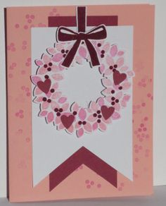 Stampin' Up! ... handmade Stampin' Up! ... handmade Valentine card ... Wondrous Wreath in pinks with little red punched hearts ...