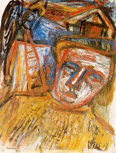 Self-Portrait with Angel by Imre Ámos - Imre Amos (Jewish-Hungarian: Kuniyoshi, Jewish Art, Hanging Art, Horror Art, Mystic, Fine Art, Art Station, Painting, 21st Century