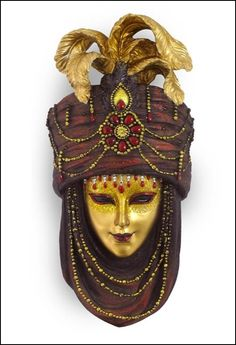 Mask with Turban Wall Plaque (Maroon & Gold) Material