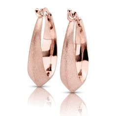 Knife Edge Matte Finish Hoop Earrings in 14k Rose Gold
