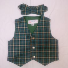 Boy's Blue Plaid Vest and Bowtie- Size 2T, 3T, or 4T by anncraftcorner on Etsy