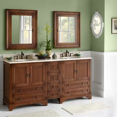 "Love this cherry wood vanity. Ronbow Milano 72"" Double Bathroom Vanity Set"