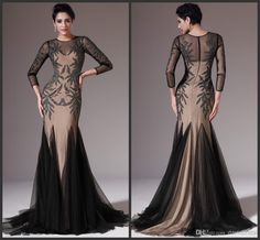 Wholesale Mother Of The Bride Dress - Buy 2014 Gorgeous Crystal Bead Sheer Crew 3/4 Long Sleeve Mermaid Sexy Mother Of The Bride Dresses Sexy Evening Prom Dress Gowns Tulle, $149.99 | DHgate