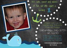 Printable Whale Birthday Invitation with Photo 5x7