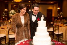 Fur jacket with lace dress for a winter wedding - Houston wedding photography - MD Turner Photography
