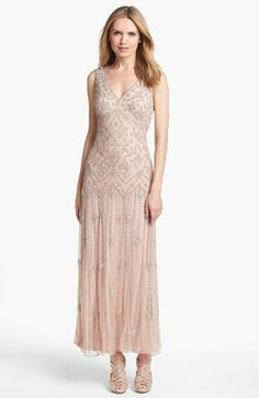 Pisarro Nights V-Neck Beaded Sequin Gown available at #Nordstrom Tried this on and it was so beautiful. It fit perfectly...just toooo dressy for the wedding