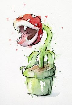olechka: Piranha-Plant and Fire-Flower watercolor...