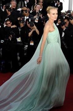 Best: Diane Kruger looks ethereal in a mint green Giambattista Valli couture dress complete with train as she arrives at the opening night of the 65th Cannes International Festival last year.