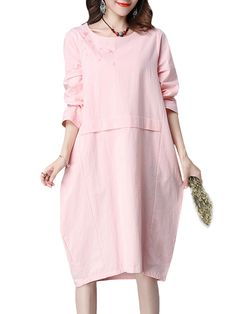 Sale 29% (23.99$) - Vintage Women Embroidery Solid Long Sleeve Loose Dress