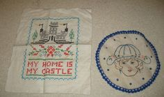 2 Vintage Handmade Linen Needlework Cross Stitch - My Home is My Castle & Girl by Tindashop on Etsy