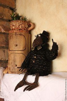 Купить Черный ворон текстильная кукла - черный, ворон, ворона, вороны, ручная авторская работа