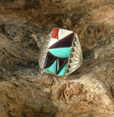 Navajo Sterling with Turquoise Black Onyx Mother of by AntiquesNXS, $125.00