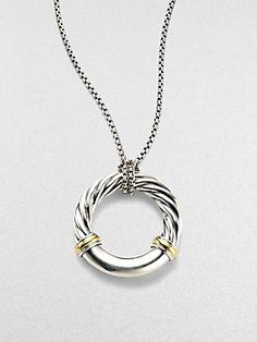 David Yurman Sterling Silver & 18K Yellow Gold Necklace
