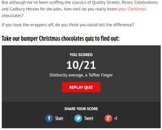 Quiz skierowany do miłośników słodyczy, mający na celu sprawdzenie ich znajomości popularnych czekoladek. Quiz polega na dopasowaniu do czekoladki odpowiedniej nazwy/nadzienia. Istnieje możliwość udostępnienia wyniku quizu i zaproszenia znajomych do rozwiązania.