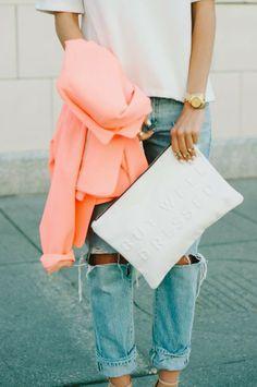 peach blazer.