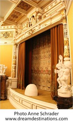 The Playhouse Stage.  It is decorated in Louis XIV style, with sixty seats and a Royal Box Peles Castle Romania