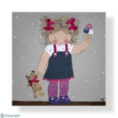 Cuadro infantil personalizado: Niña con su osito y un helado (ref. 12029-01)