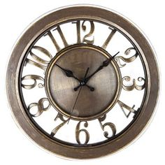 Chocolate Gold Wall Clock with Cut-Out Dial