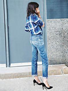 Emmanuelle Alt in denim & plaid #style #fashion #streetstyle