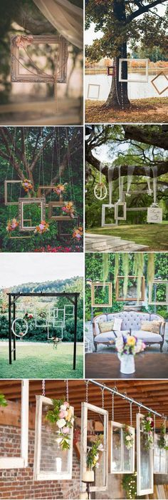 gorgeous hanging wedding decoration ideas with photo frames