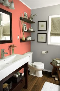 Coral And Gray Walls With Dark Wood And Extra Shelving For Decoration.