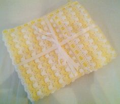 Lemon and white bobble blanket - Crochet creation by Catherine
