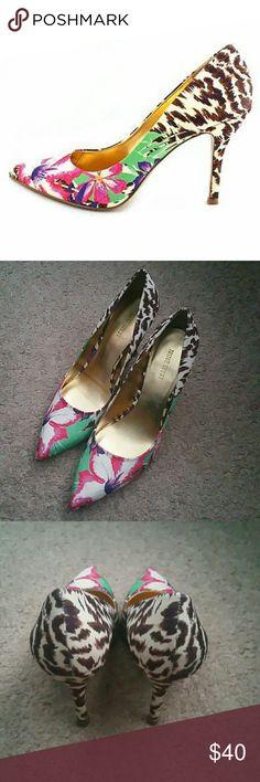 Nine west Flax pump Nine west Flax pump,  floral and animal print, sz 8.5, worn once Nine West Shoes Heels