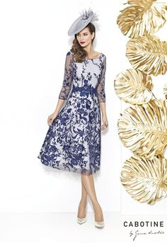 Cabotine Navy Lace Fit and Flare Dress