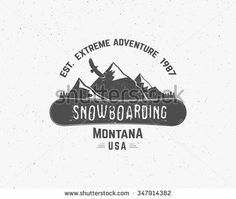 Snowboarding extreme logo and label templates. Winter snowboard sport store badge. Emblem and icon. Mountain Adventure insignia, symbol and element Vector vintage monochrome style. Retro style