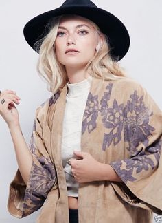 NEW  Free People NR tan suede gray floral print open Kyoto Kimono Coat L $850