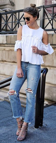 #spring #fashion  White Open Shoulder Top & Ripped Jeans & Studded Sandals