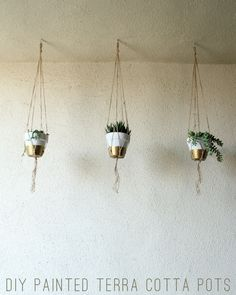 DIY Painted Hanging Terra Cotta Pots via Lovely Indeed