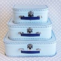 Baby Blue Paper Suitcase Set - Navy Handles