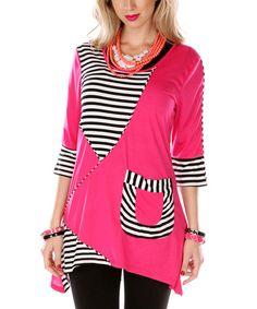 Pink & White Stripe Panel Pocket Tunic by Aster