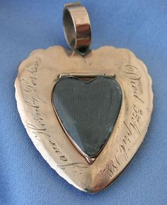 Another example of the heart motif used in late 18th Century / early 19th Century jewellery. This time, the inscription is a later addition, being in 1894. The piece itself is more commonly associated with the late Georgian period.