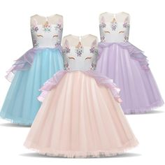 d250d472c3f3 Unicorn Girls Party Prom Costume Evening Wedding Dress Floral Glitter  Boobootik