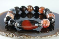 BlackBrown Agate stretch statement bracelet by AliraTreasures, $46.00
