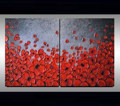 Original Modern Art, Abstract, Red Flowers, Artwork, Contemporary Landscape, Black Red Silver Texture Painting
