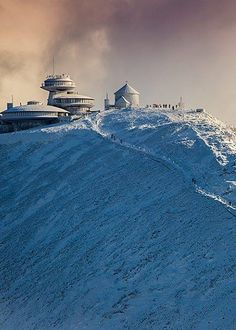 """Meteorological observatory on top of the Śnieżka peak (""""the Snowball"""") - Sudety mountains , Poland Polish Mountains, Visit Poland, Poland Travel, The Beautiful Country, Most Beautiful Cities, Krakow, Warsaw, Great Places, Travel Photos"""