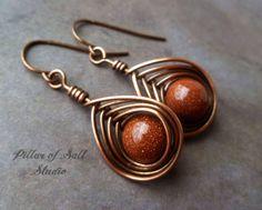 Wire wrapped earrings / Copper earrings / by PillarOfSaltStudio, $20.00