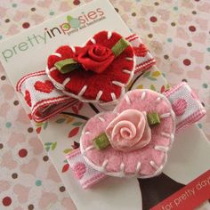 SALE Valentine Hand Stitched Felt Hearts Hair Clips by PrettyinPosies. $10.00, via Etsy.
