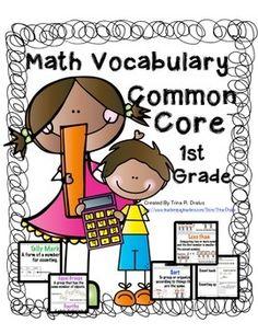 First Grade Common Core Math Vocabulary #mathvocabulary #mathwordwall #mathvocabularyflashcards
