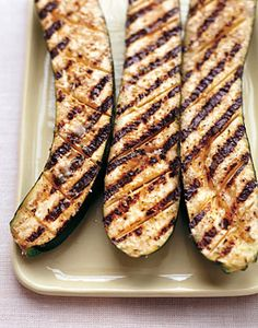 Grilled Zucchini with Garlic and Lemon. Ahhh...perfect now that zucchini is ripening from gardens. Healthy and yummy.