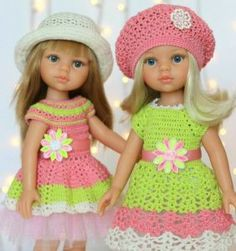 43 Vestiditos para tu muñeca Knitting Dolls Clothes, Crochet Doll Clothes, Girl Doll Clothes, Girl Dolls, Knitted Romper, Knitted Dolls, Crochet Dolls, Crochet For Kids, Crochet Baby