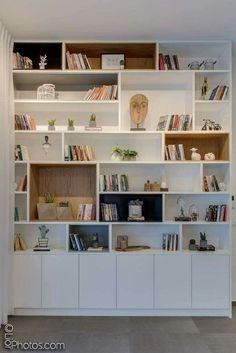 30 best bedroom cabinet design ideas 75 - boekenkast - Shelves in Bedroom Living Room Storage, Bedroom Cabinets, Home Library Design, Home Living Room, Room Shelves, Bookshelf Design, Living Room Shelves, House Interior, Home Office Design